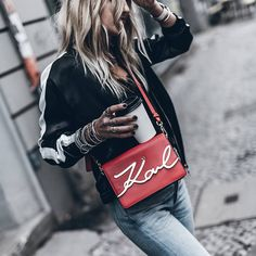 WEBSTA @ mikutas - Red 💥 Back in Berlin with the Karl signature bag for a pop of colour and stripes ❤ I Love Fashion, Fashion Details, Passion For Fashion, Women's Fashion, Casual Trends, Jeweled Shoes, Karl Lagerfeld, Style Guides, Color Pop