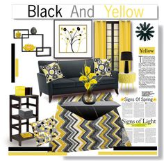 Spring Time Yellow and Black by truthjc on Polyvore featuring interior, interiors, interior design, home, home decor, interior decorating, Stray Dog Designs, Mohawk, Alexandra Von Furstenberg and Mikasa