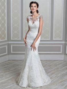 cap sleeves sheer back beaded applique lace mermaid wedding dress