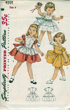 Simplicity 4591; ©1954; Child's One-Piece Dress; Size 4 - New Vintage Studio