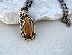 Tiger's eye wire wrapped pendant  OOAK by Ianira on Etsy