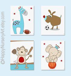 Nursery decor Sports theme nursery art por HappyNurseryArt en Etsy, $42.00