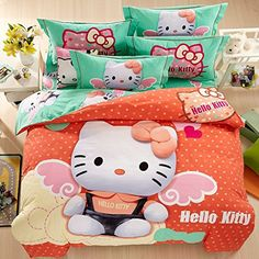 Belles Maison Children Brushed 100 cotton series HELLO KITTY duvet cover pillow cases Flat PiecesQueen >>> Check out this great product. Hello Kitty Bedroom Set, Hello Kitty Rooms, Pink Hello Kitty, Cover Pillow, Pillow Covers, Disney Frozen Bedroom, Hello Kitty Drawing, Kawaii Bedroom, Kids Bedding Sets