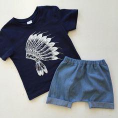 Boy's denim harem shorts