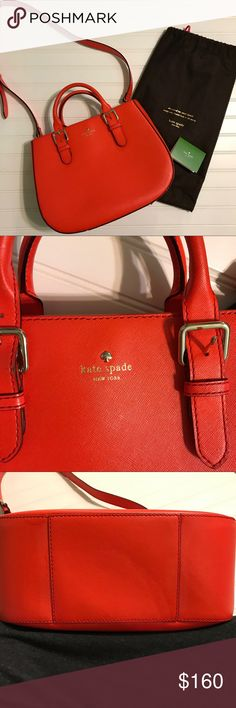 Kate Spade Charlotte Street Sylvie Purse Kate Spade Charlotte Street Sylvie Tote in Geranium. Beautiful pop of color! EUC. Good roomy purse. A little wear on the handles and on the bottom.  Wry light scuffing in front bottom. Hardly noticeable. Inside is very clean. Strap and dust bag included. kate spade Bags Totes