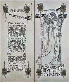 Telephone service card for Miss Cranstons Tea Rooms - M Macdonald Glasgow Girls, Glasgow School Of Art, Art School, Th 5, Church Of Scotland, Art Nouveau Poster, Vintage Library, Art Deco Movement, Pottery Painting