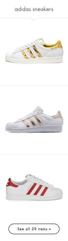 """""""adidas sneakers"""" by ouchm4rvel ❤ liked on Polyvore featuring shoes, sneakers, adidas, yellow sneakers, white shoes, 80s shoes, 80s sneakers, print shoes, adidas originals sneakers and stripe shoes"""
