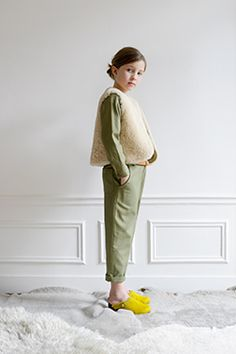 Neutrals with sunny yellow Clogs. #designer #kids #fashion