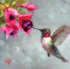 Hummingbird bird birds painting paintings decor by kristaeatonart Hummingbird Art, Fine Art Gallery, Beautiful Birds, Illustration Art, Illustrations, Drawings, Artist, Artwork, Hummingbirds