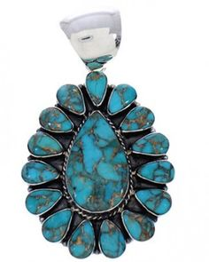 Southwest Genuine Sterling Silver Turquoise Pendant PX23725