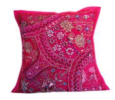 "16X16"" Indian Cotton Decorative Handmade Floral Desigen Patch Work Cushion Cover #AshuHandicraft #Ethnic"