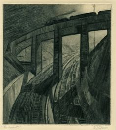 View along curved railway track, train crossing viaduct overhead. c.1929…