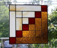 Stained Glass Log Cabin Quilt Panel Handmade by GailsGlassGarden, $44.00