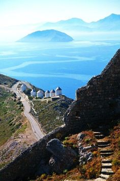 The windmills & the Sea Island of Leros, Greece