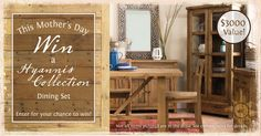 Wicker Emporium is giving away a dining room set valued at $3000 if they reach 4000 entries. Winner will be announced on Mother's Day...what a way to celebrate! Dining Set, Dining Room, Country Primitive, Diy Furniture, Solid Wood, Wicker, Sweet Home, New Homes, Room Set