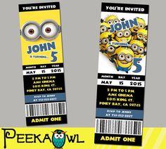 Printable Minions 2015 movie invitation card Minions by PeekaOwl