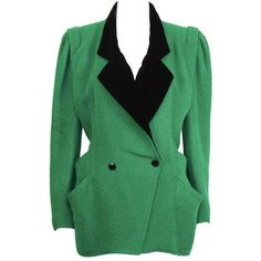 Preowned 1980's Ungaro Kelly Green & Black Hacking Jacket (36,755 DOP) ❤ liked on Polyvore featuring outerwear, jackets, green, kelly green jacket, green velvet jacket, green jacket, 1980s leather jacket and emanuel ungaro jacket
