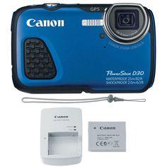 Canon PowerShot D30 12.1MP Waterproof Digital Camera (Blue) #Canon