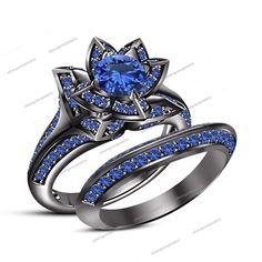 2.2 CT Round Cut Sapphire Flower Style Engagement Bridal Ring Set 14k Black Gold #Silvergemsjewelry #FlowerRingWeddingRingEngagementRing #WeddingEngagemnetAnniversaryBrithdayPartyGift