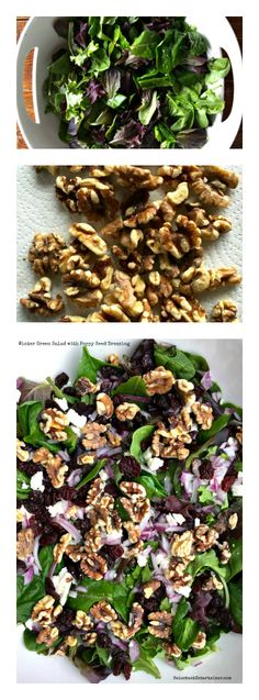 Winter Green Salad with Poppyseed Dressing {and HOW TO toast walnuts quickly!} on ReluctantEntertainer.com