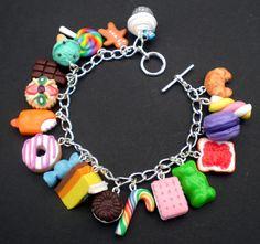 MultiColoured Loaded Kawaii Food Charm Bracelet by KooKeeJewellery, $33.99