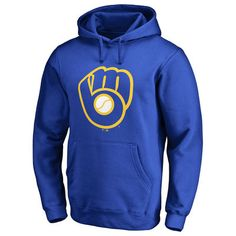 Men's Milwaukee Brewers Royal Secondary Color Primary Logo Pullover Hoodie