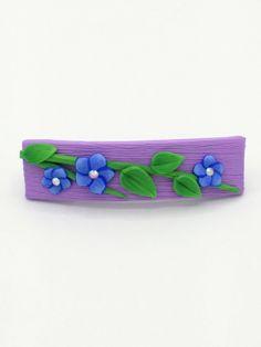 Blue Flower Barrette 2.5 Inches; Indigo Spring Blossom; Floral Hair Accessory Fashion; Style No: BLF07 by EmilyMah on Etsy