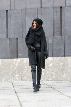 worry about it later: ootd: knitted scarf all black look ootd minimalistic outfit black look leather pants black acne pistol boots cos beanie