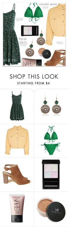 """""""Floral dress with colored denim jacket"""" by mycherryblossom ❤ liked on Polyvore featuring Topshop, Hollister Co., Givenchy, NARS Cosmetics and Bare Escentuals"""