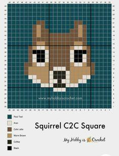 Crochet C2c Pattern, Crochet Flower Patterns, Macrame Patterns, Crochet Squares, Beaded Cross Stitch, Cross Stitch Patterns, Corner To Corner Crochet, Plastic Canvas Stitches, Animal Quilts