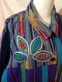 2X Plus Southwestern Cotton Weave Embroidered Applique Flower Felt Wool Jacket #BasicJacket