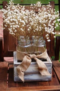 Burlap wedding table Centerpieces ideas - Rustic Square Box with Jars, rustic centerpiece for wedding, shabby wooden table decor for barn wedding