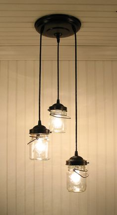 Vintage Clear Mason Jar CHANDELIER Light by LampGoods on Etsy, $150.00