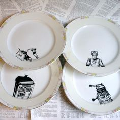 Noritake Dr Who Themed Altered Vintage Plates Set by geekdetails, $48.00