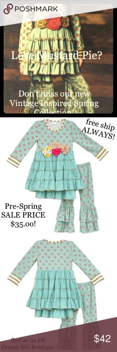 NEW VINTAGE BOUTIQUE GIRLS SPRING OUTFIT SALE 2-7 DREAM BIG LITTLE ONES BOUTIQUE SPRING COLLECTION VINTAGE INSPIRED PRE SEASON SALE LIMITED TIME PRICES ONLY FREE USA SHIP SiZes 12M - 7 Dream BiG little Ones Matching Sets