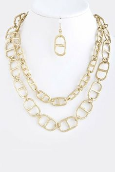 """Gold Collar Chain Link Necklace - Gold Layered Pull Tab Chain Necklace StarShine Jewelry. $28.60. Lead compliant. Layered pull tab chain necklace. Length approx 22"""". Lobster claw clasp with 3"""" extender"""