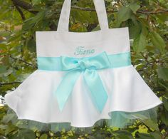 Embroidered Tote Bag White Tote Bag with a Satin by naptime21
