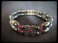Rose Decorative Charm Double Magnetic Bracelet $24.00