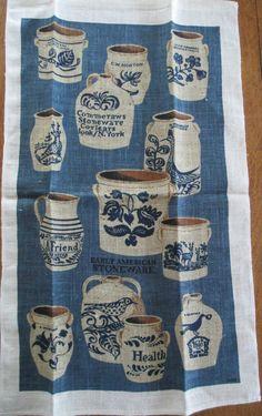 Vintage Kitchen Tea Towel  Blue Ecru Stoneware  by AStringorTwo, $14.00