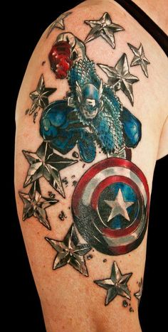 35 captain america tattoo designs for men and women receptions halloween costumes and halloween. Black Bedroom Furniture Sets. Home Design Ideas