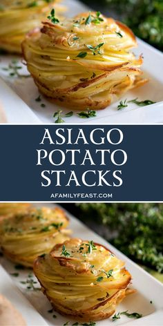 Asiago Potato Stacks - A Family Feast® Asiago Potato Stacks - A Family Feast®. Asiago Potato Stacks – A Family Feast® Asiago Potato Stacks – A Family Feast® This image Potato Sides, Potato Side Dishes, Vegetable Side Dishes, Vegetable Recipes, Vegetarian Recipes, Healthy Recipes, Veggie Recipes Sides, Bacon Recipes, Potato Recipes For Dinner