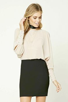 Forever 21 Contemporary - A combo dress featuring a semi-sheer woven top with an open-shoulder design, long sleeves with ruched cuffs, a keyhole back, round neckline, knit skirt, and a concealed side zipper.