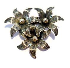 Vintage Signed Beau Sterling Flower Floral Brooch ~ Dimensional Detailed Estate #SYLink