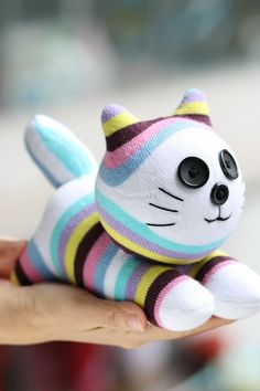 Handmade plush Sock Cat Personalized stuffed by Toyapartment