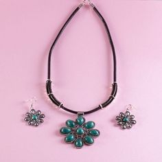 Turquoise Stone, Silver Alloy Pendant Necklace and Earring Set Made of Silver alloy Nickel Free and Lead Free  These fabulous Silver Coated