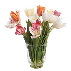 Artificial Tulips in Glass Vase