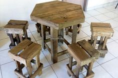 If the home is small and there is a need of the table with the seating arrangement, then this idea of making repurposed wood pallet table with stools is great. The table is diamond shaped and the stools are square, they don't occupy much space, which you can see yourself.