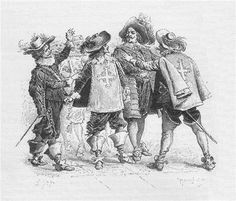 Three Musketeers by Alexandre Dumas, illustration by Maurice Leroy (1894)
