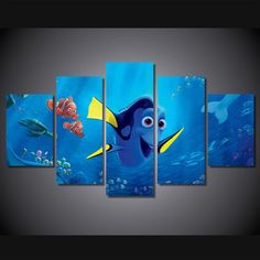 5 Panel Finding Dory Pixer Animation Film Framed Wall Canvas Art