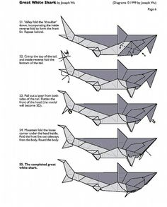 paper sharks pattern b origami shark folding diagram and instructio rh pinterest com origami hammerhead shark diagram origami great white shark diagram